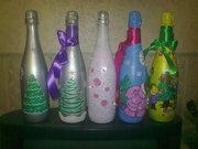 шампанское новогоднее ручная роспись